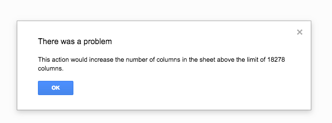 Maximum number of columns in Google Sheets